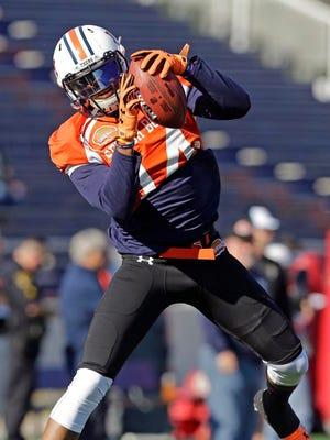 Auburn's Nick Marshall practices for Saturday's Senior Bowl in Mobile, Ala.