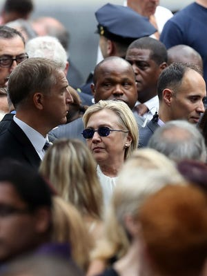 Hillary Clinton at the  9/11 anniversary ceremony in New York City.
