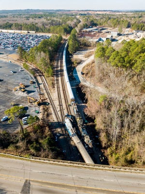 The site Feb. 5, 2018, of train crash between an Amtrak train, bottom, and a CSX freight train, top left, in Cayce, S.C.