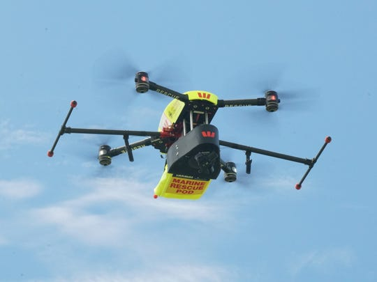 This is the Westpac Little Ripper drone, which uses hundreds of thousands of photographic images to identify sharks and alert life guards patrolling the beach. The drone learns over time to distinguish sharks from other marine creatures or surfers. The more it is deployed, the smarter and more accurate it becomes.