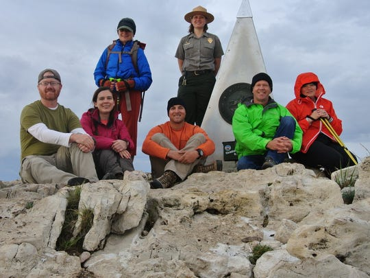 From left to right: John Withers, Katherine Leskin, Julie Kirby, Calvin Christian, Park Ranger Tish Taskin, Mark Joop, Dianne Joop.