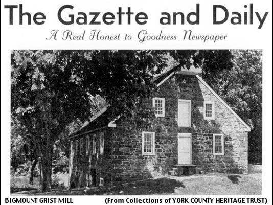Bigmount Grist Mill Photo at top of the page showing months Nov. 1952 – Jan. 1953 within The Gazette and Daily Calendar (York County Heritage Trust)