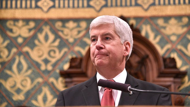 """Gov. Rick Snyder pledged to """"fix"""" the Flint Water Crisis at his 2016 State of the State address, pictured here. One year later, he prepares for his seventh annual address with problems lingering in the beleaguered city."""