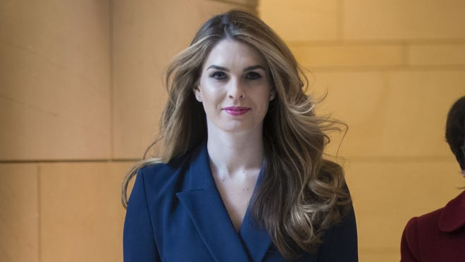 White House Communications Director Hope Hicks, one of President Trump's closest aides and advisers, arrives to meet behind closed doors with the House Intelligence Committee, at the Capitol in Washington, Tuesday, Feb. 27, 2018.  (AP Photo/J. Scott Applewhite) ORG XMIT: DCSA117