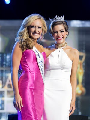 Miss Tennessee Grace Burgess stands with Miss America 2016 Betty Cantrell during a preliminary night of the Miss America Competition.