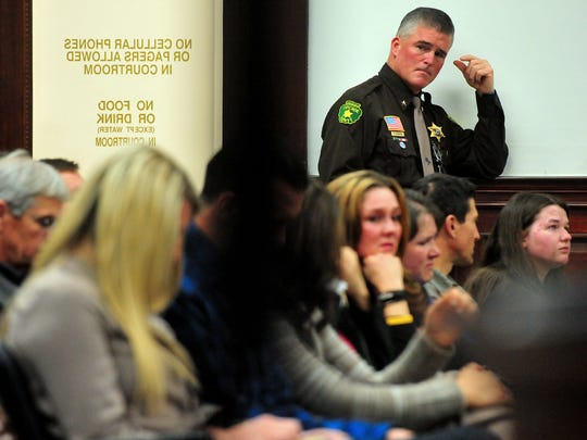 Cascade County Bob Edwards watches the proceeding during the sentence hearing for Adam Sanchez Jr.