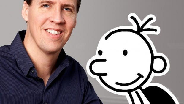Jeff Kinney with his cartoon character Greg Heffley of 'Diary of a Wimpy Kid' fame.