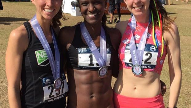 Obsie Birru (center), with NE Distance teammates Katrina Spratford (left) and Rachel Schilkowsky after the USATF Cross Country Championships on Feb. 3 in Tallahassee, Fla.