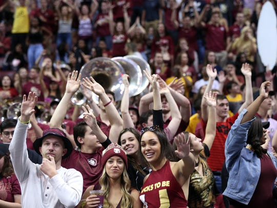 FSU fans cheer on the Seminoles as they defeat Miami 103-94 at the Tucker Civic Center on Saturday, Jan. 27, 2018.