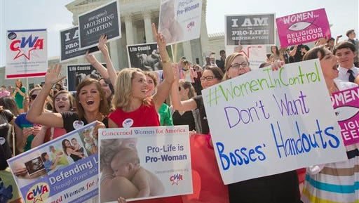 Demonstrators react to hearing the Supreme Court's decision on the Hobby Lobby case outside the Supreme Court in Washington, Monday, June 30, 2014. The Supreme Court says corporations can hold religious objections that allow them to opt out of the new health law requirement that they cover contraceptives for women.(AP Photo/Pablo Martinez Monsivais)