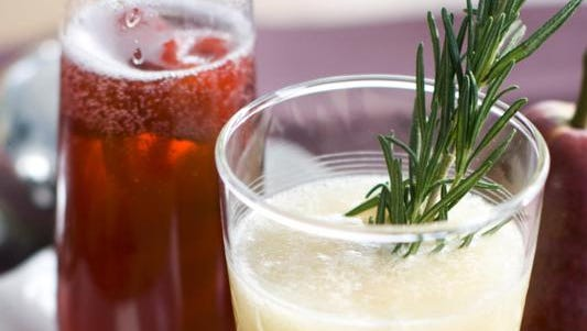 Rudolph's Nose, left, and a Chilly Pear Tree are two lighter cocktails that can be enjoyed at brunch.