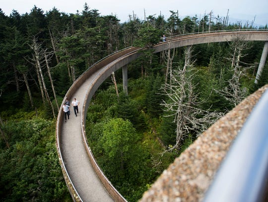 Members of the media walk down from Clingman's Dome