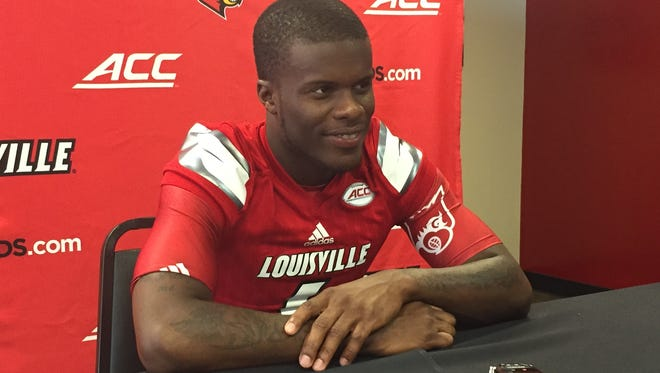 U of L cornerback Shaq Wiggins speaks with reporters during the Cards' preseason.