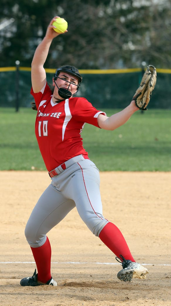 Kaitlyn Borruso of Tappan Zee pitches to Nanuet during