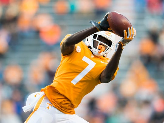 Tennessee wide receiver Brandon Johnson (7) makes a catch during a game between Tennessee and Vanderbilt at Neyland Stadium in Knoxville, Tenn., on Saturday Nov. 25, 2017.