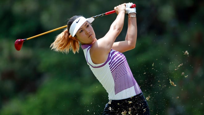 Michelle Wie watches her tee shot on the second hole on Saturday during the third round of the U.S. Women's Open in Pinehurst, N.C.