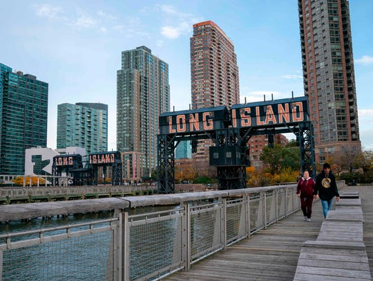 A view of the waterfront of Long Island City in the