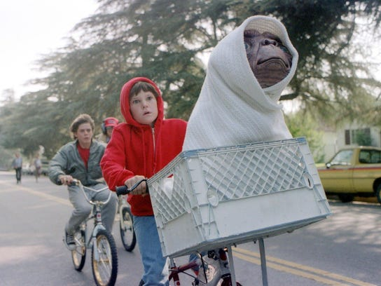 "Elliott (Henry Thomas) rescues his new interstellar friend in ""E.T. the Extra-Terrestrial."""