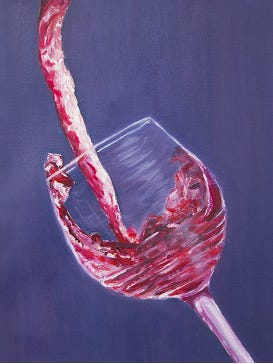 """Red Wine"" by Mimi Ace is an oil on canvas painting."