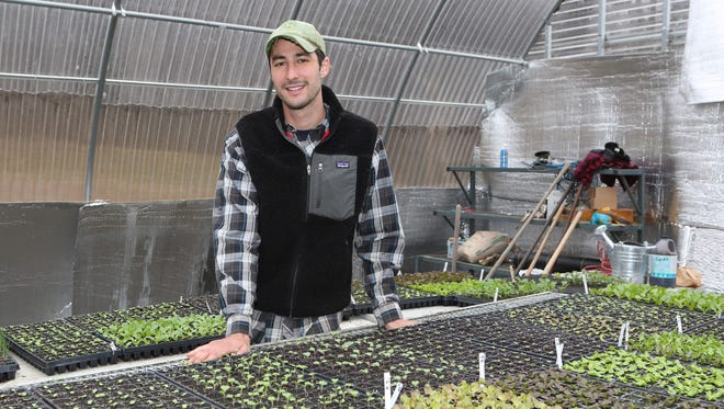 Max Apton, the manager at Amawalk Farm in Katonah, is pictured in the greenhouse April 10, 2015. He has a new business of starting and tending backyard vegetable gardens for clients in Westchester and will offer tips on the lohud Facebook page.