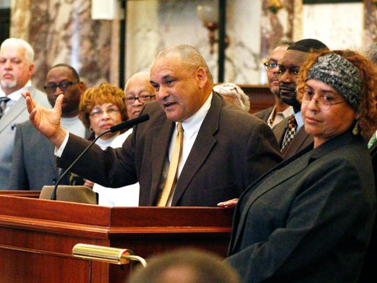 Dennis Dahmer, son of Vernon Dahmer Sr., a civil rights leader killed 50 years ago when Ku Klux Klansmen firebombed his family's home and businesses near Hattiesburg, addresses the Mississippi Legislature Friday, Jan. 8, 2016, at the Capitol in Jackson, Miss. Dahmer said he plans to attend the opening of the Mississippi Civil Rights Museum, whether President Trump attends or not.