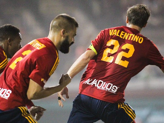 Arizona United defender Rob Valentino celebrates his goal during their match against the Seattle Sounders in Scottsdale on Saturday, June 20, 2015.