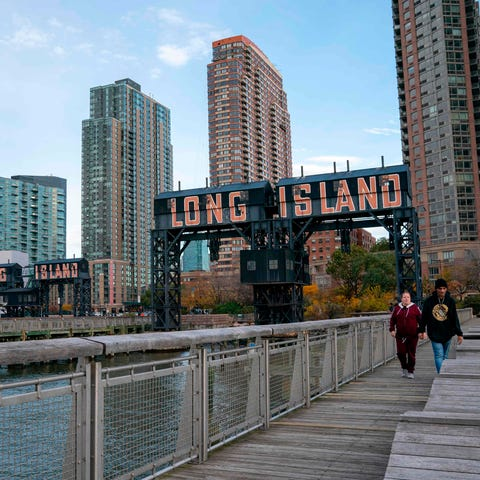 A view of the waterfront of Long Island City in...