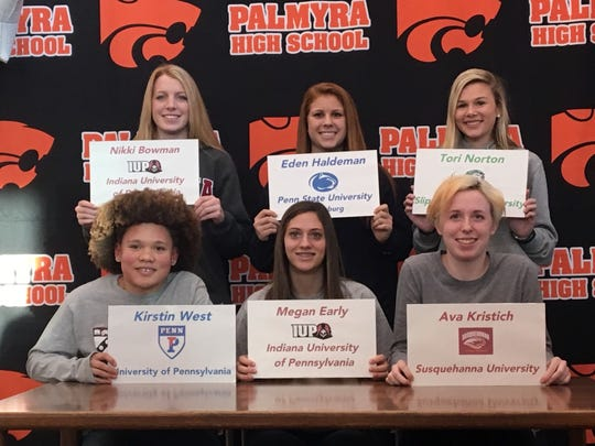 Six Palmyra female student-athletes made their college