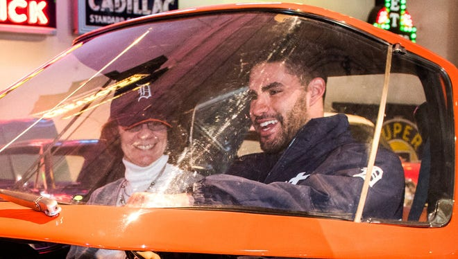 Detroit Tigers outfielder J.D. Martinez gets behind the wheel of the 1969 512 Electrical Experimental vehicle Jan. 22, 2016, in Sterling Heights.