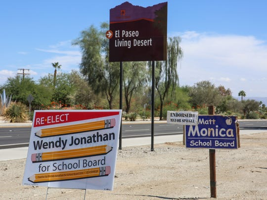 Political signs for Desert Sands Unified school board candidates Wendy Jonathan and Matt Monica on Fred Waring Dr. in Palm Desert, September 29, 2016.