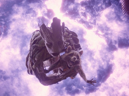 "Groot and Rocket Raccoon in the movie version of ""Guardians of the Galaxy."""