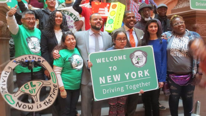Supporters of allowing undocumented immigrants get driver's licenses in New York rallied at the state Capitol on Wednesday, April 18, 2018.