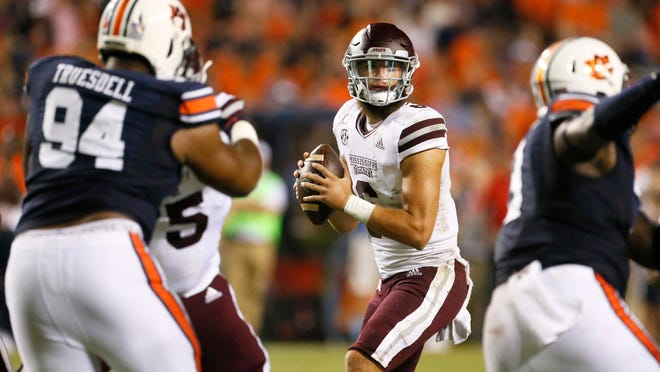 Sep 28, 2019; Auburn, AL, USA;  Mississippi State Bulldogs quarterback Garrett Schrader (6) looks for a receiver during the third quarter against the Auburn Tigers at Jordan-Hare Stadium.  The Tigers beat the Bulldogs 56-23. Mandatory Credit: John Reed-USA TODAY Sports