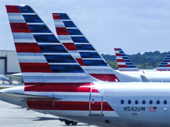American Airlines passenger planes at the Charlotte