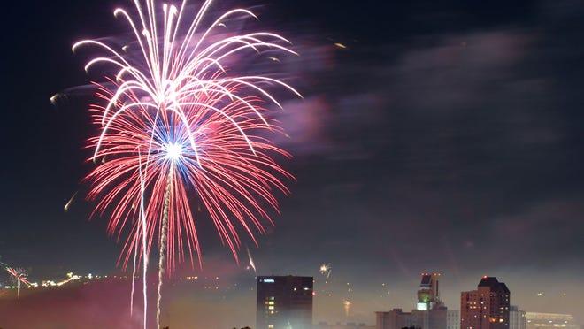 Fireworks show lights up the Augusta skyline in Augusta, Ga. [STAFF]