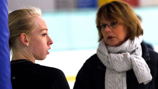 Denise Myers (right) has coached Olympic skater Bradie Tennell since 2007.