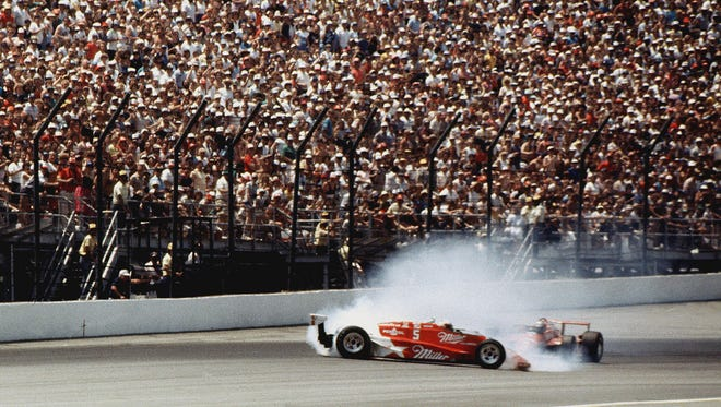 Danny Sullivan, who passed leader Mario Andretti, spins and then wins the 1985 Indianapolis 500.