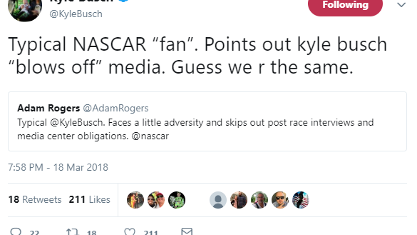 Kyle Busch spent hours after NASCAR race trolling his haters: 'Eat that crow bro!'