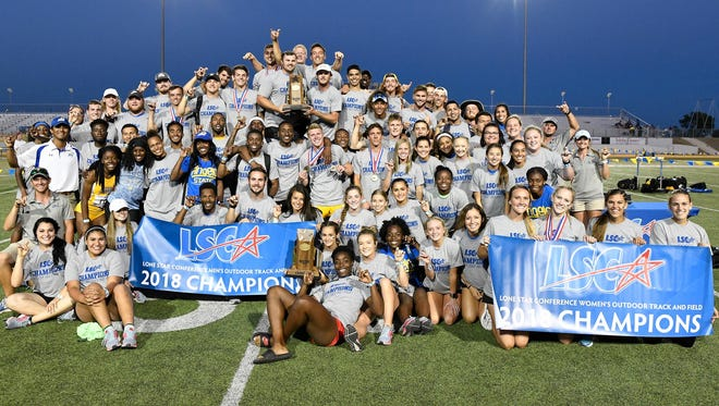 The Angelo State University men's and women's track and field teams celebrate winning Lone Star Conference championships Saturday at LeGrand Stadium at 1st Community Credit Union Field.