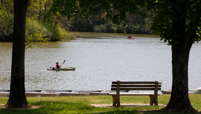 The nice weather brought people out to enjoy the benefits of Miami Whitewater Forest Tuesday May 6, 2014.