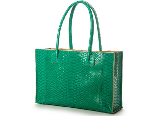 B. May's Harbor Tote in green python, $1250.