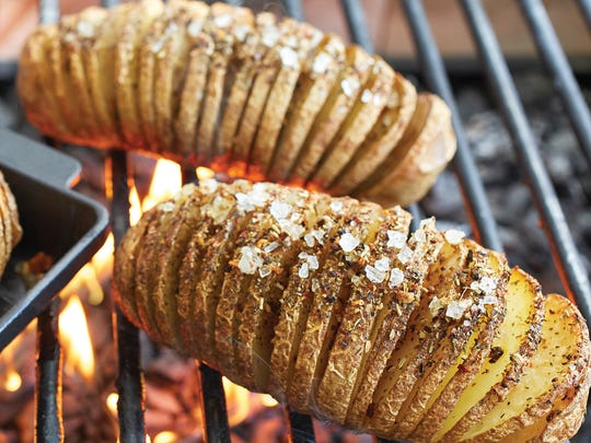 Mandolined potatoes cook faster on the grill. Hasselback Potato Prep ($10.36) gets potatoes prepped for dinner.