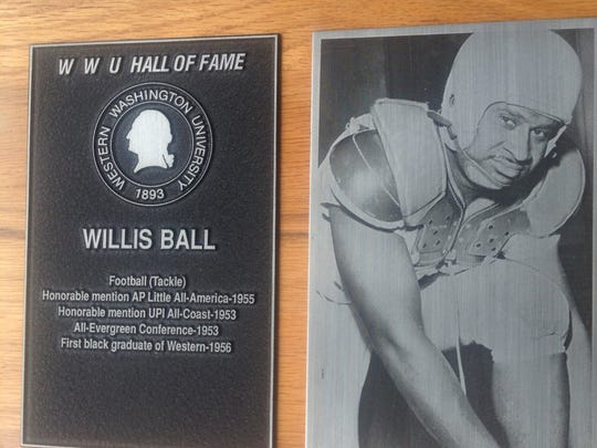 The plaque commemorating Willis Ball at the Western Washington University Hall of Fame.