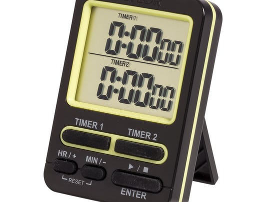 Taylor Kitchen's dual-event timer has different ring tones for each timed event.