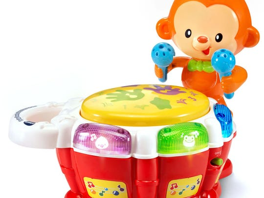 These 45 toys and products have earned the NAPPA seal of approval in 2017. Pictured is the VTech Baby Beats Monkey Drum™.