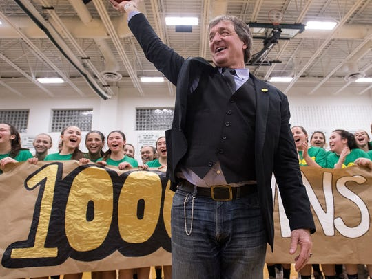 Pascack Valley girls basketball coach Jeff Jasper celebrates