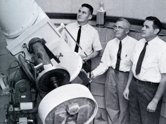 This photo from the 1964 NMSU yearbook shows Bradford Smith, left, Clyde Tombaugh, center and Jim Robinson.
