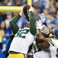Green Bay Packers tight end Richard Rodgers (82) pulls in a Hail Mary to win the game against the Detroit Lions at Ford Field.