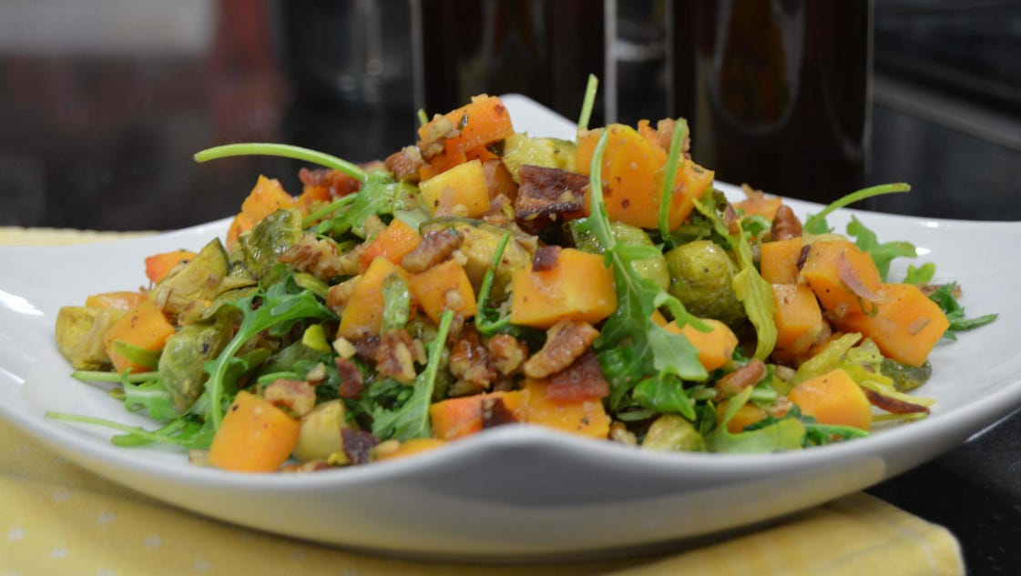 Roasted Butternut Squash and Brussels Sprouts with Warm ...