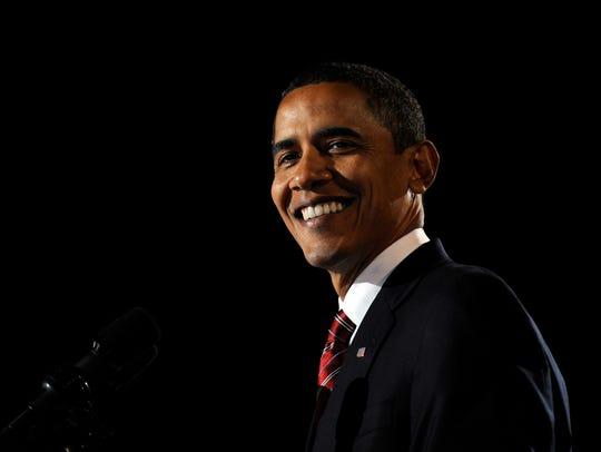 Barack Obama during an election night celebration at